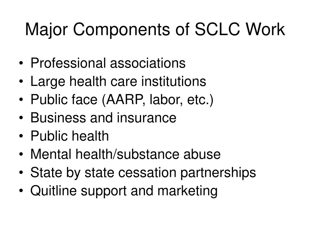 Major Components of SCLC Work