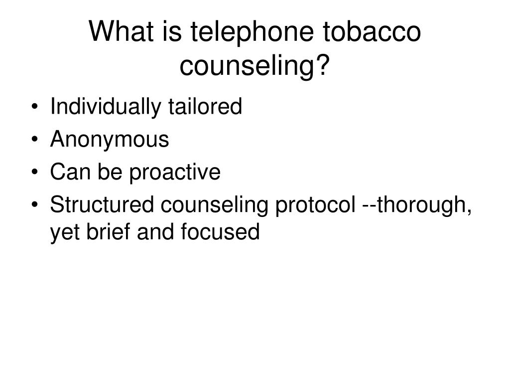What is telephone tobacco counseling?