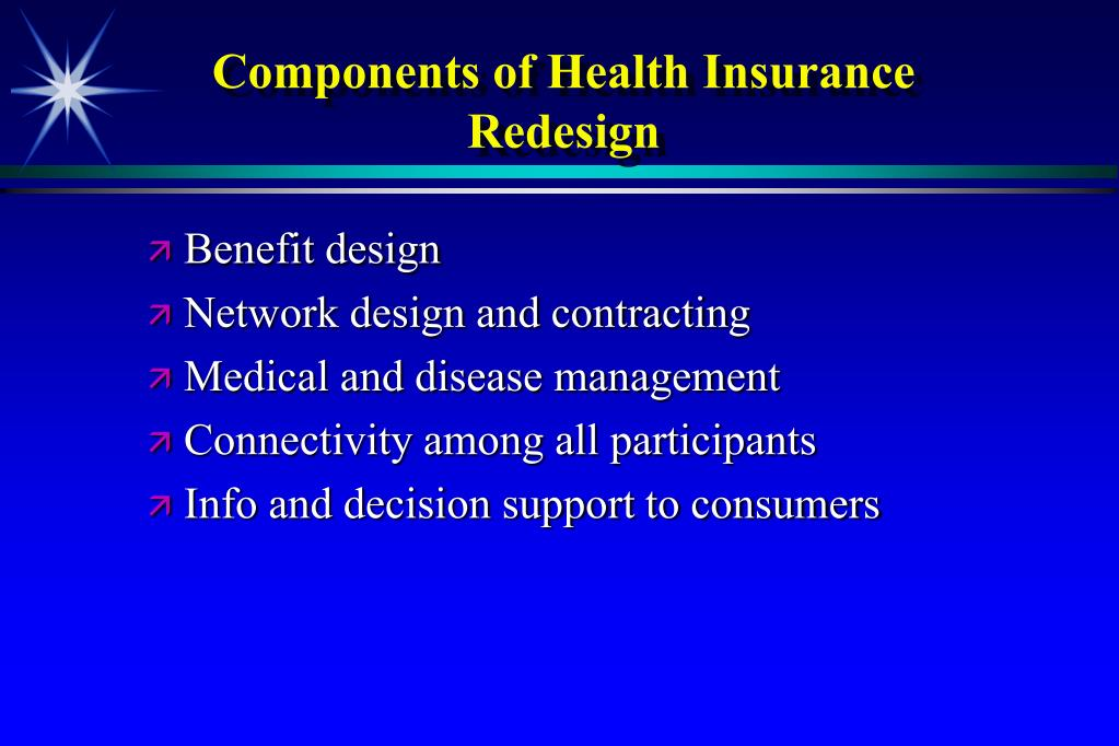 Components of Health Insurance Redesign