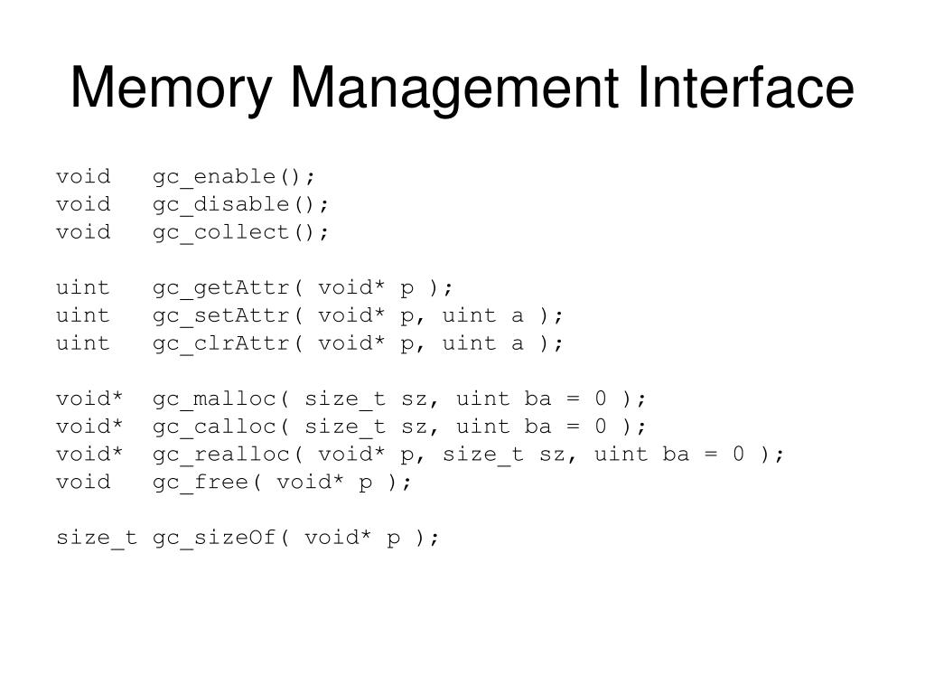 Memory Management Interface