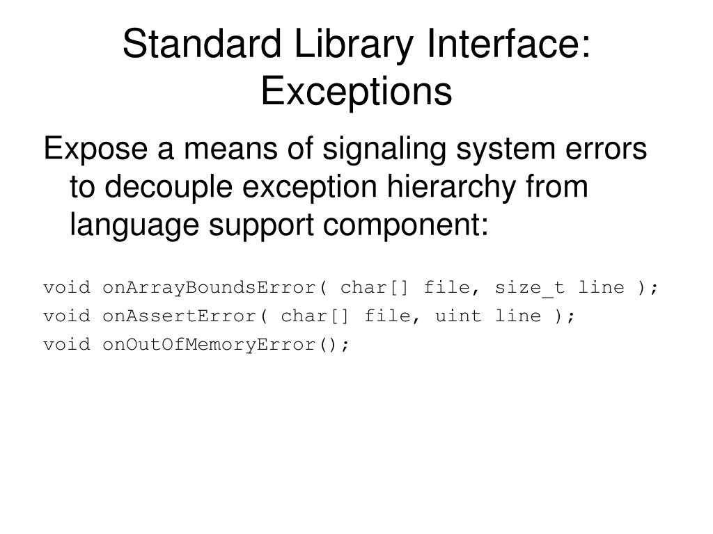 Standard Library Interface: Exceptions