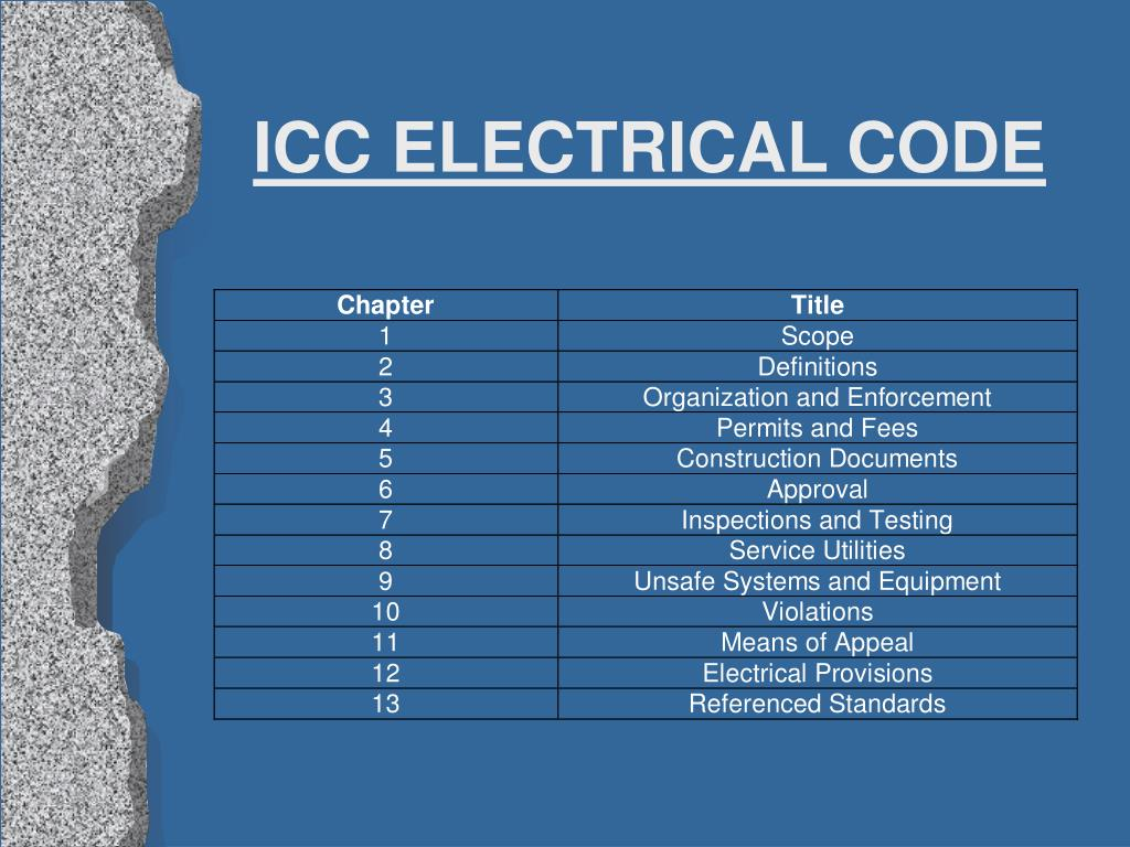 ICC ELECTRICAL CODE
