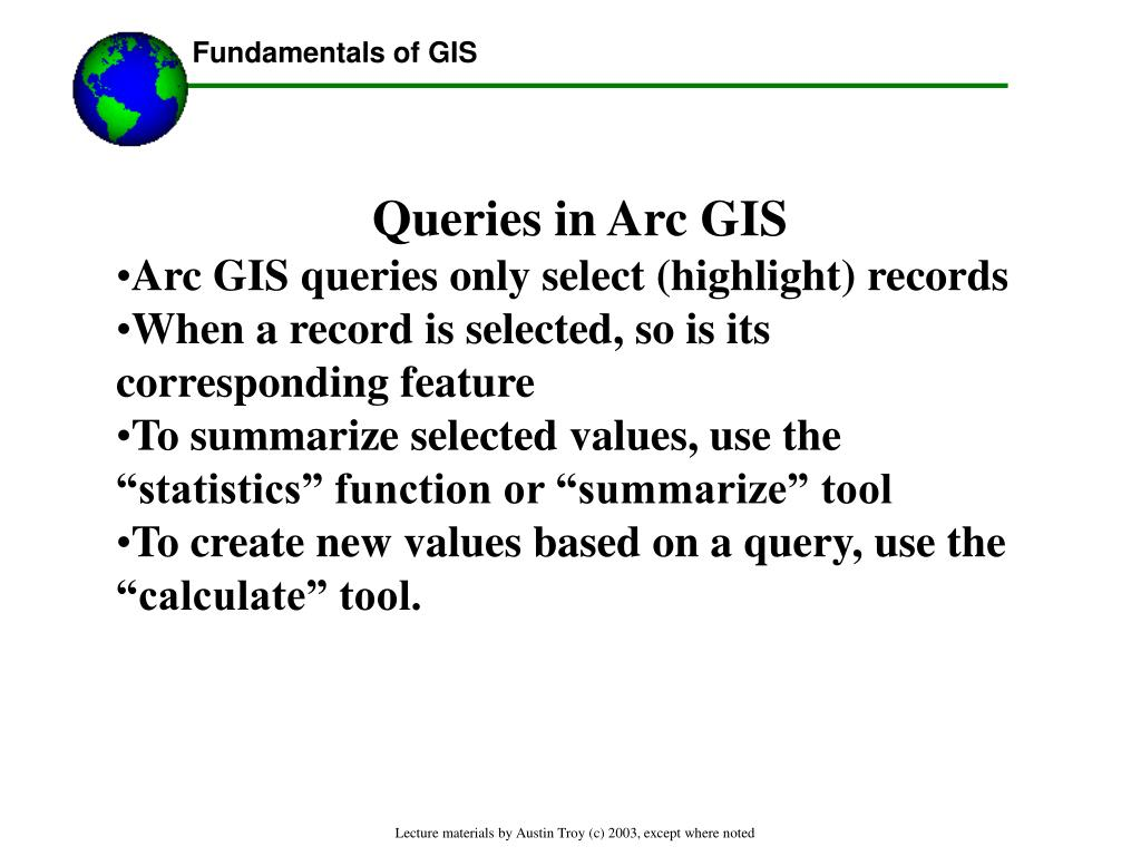 Queries in Arc GIS