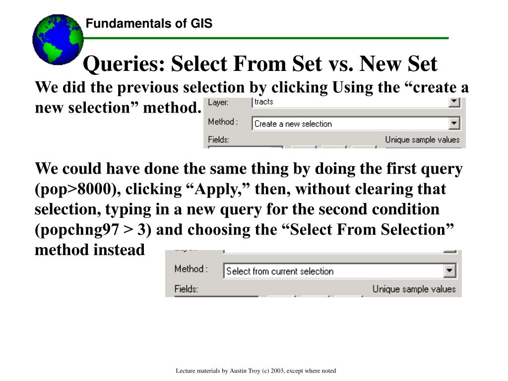 Queries: Select From Set vs. New Set