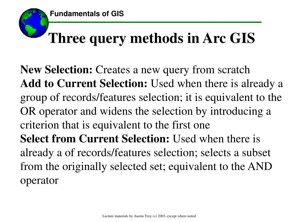 Three query methods in Arc GIS