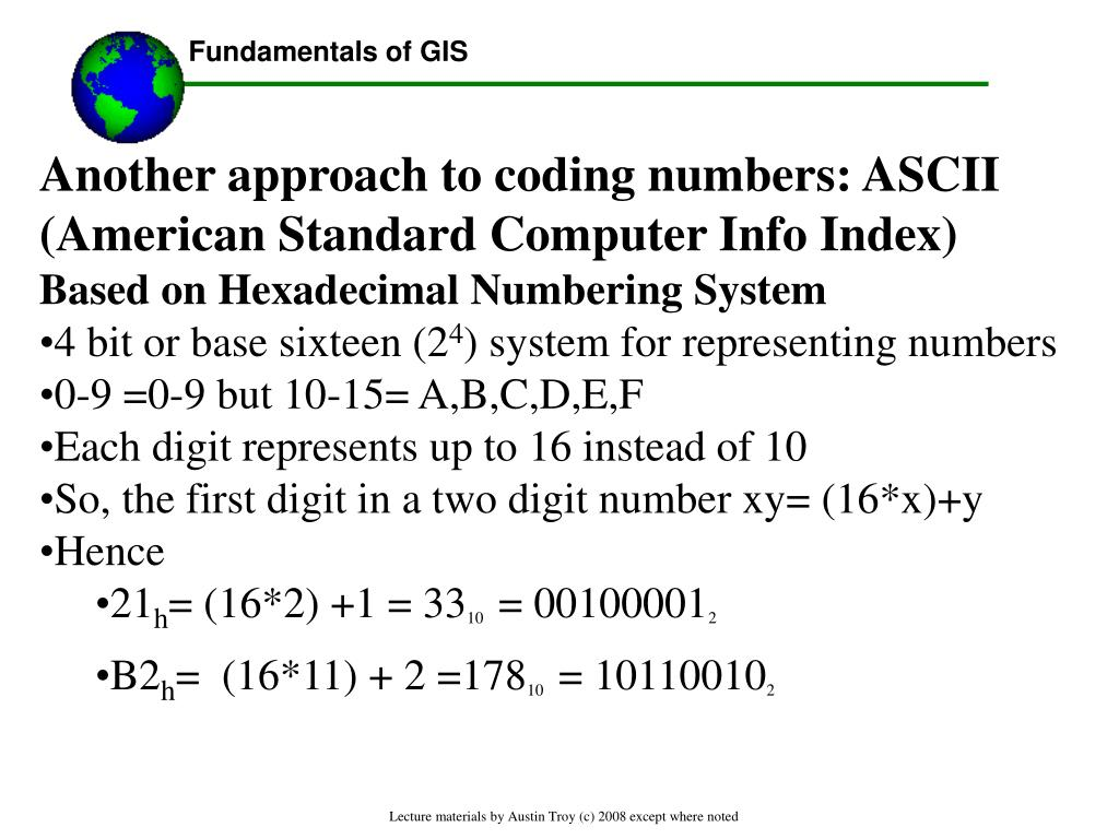 Another approach to coding numbers: ASCII (American Standard Computer Info Index)