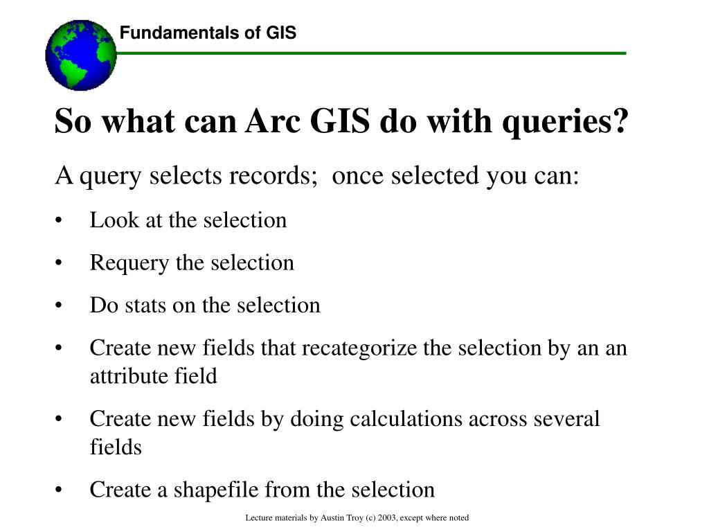 So what can Arc GIS do with queries?