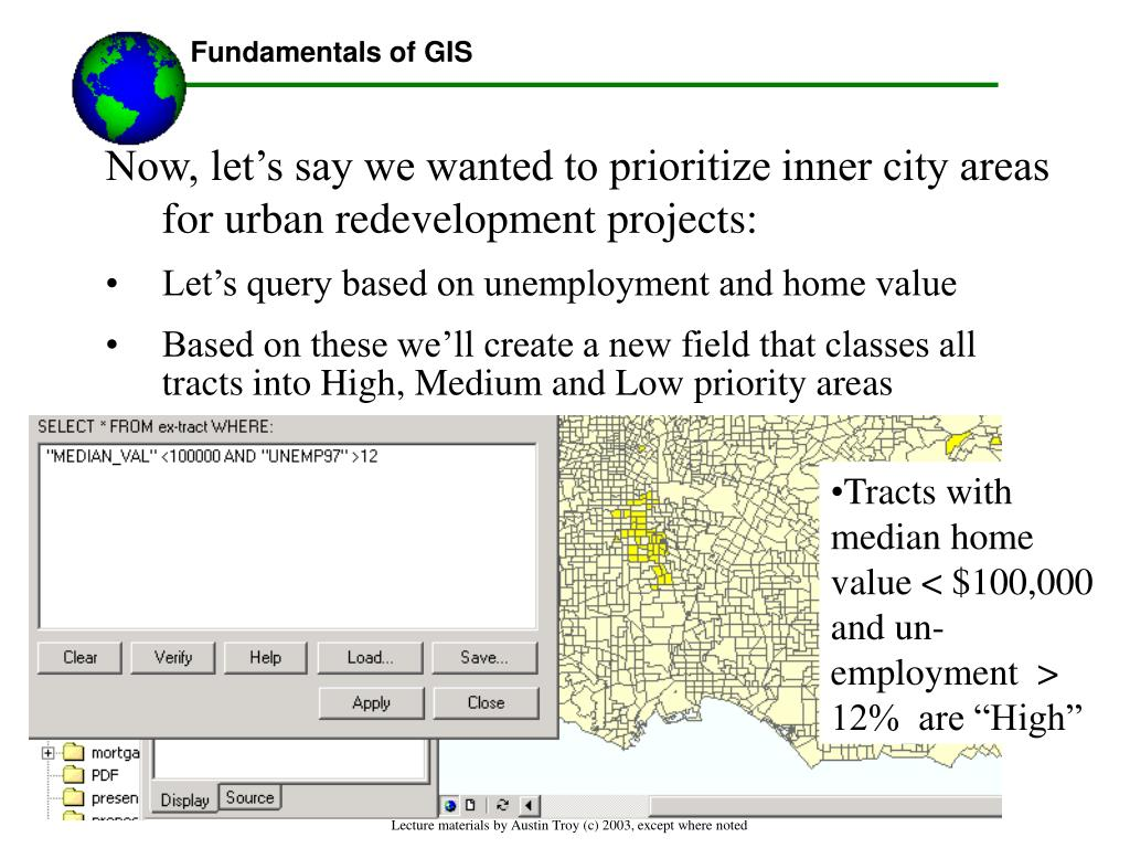 Now, let's say we wanted to prioritize inner city areas for urban redevelopment projects: