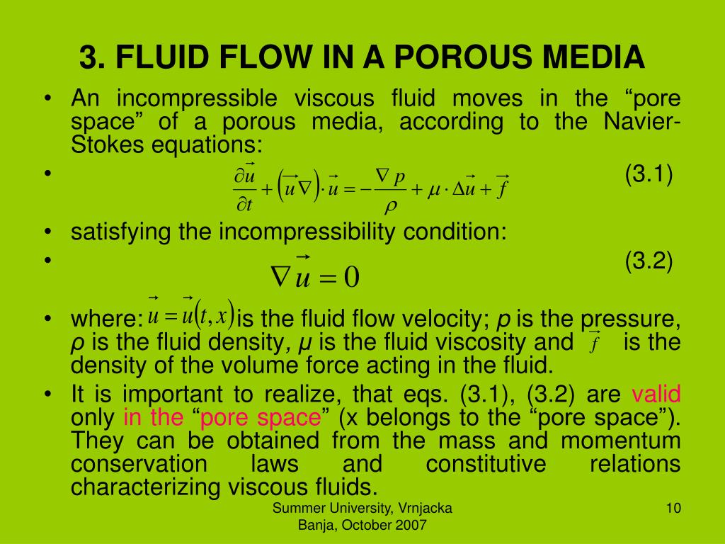 3. FLUID FLOW IN A POROUS MEDIA