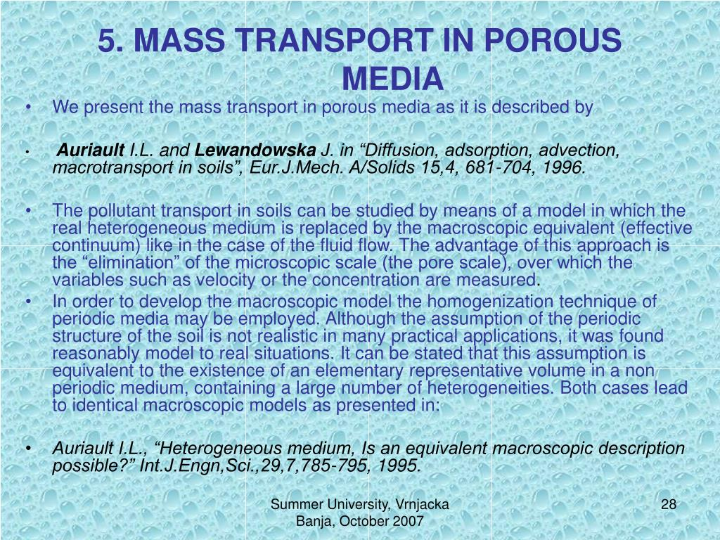 5. MASS TRANSPORT IN POROUS MEDIA