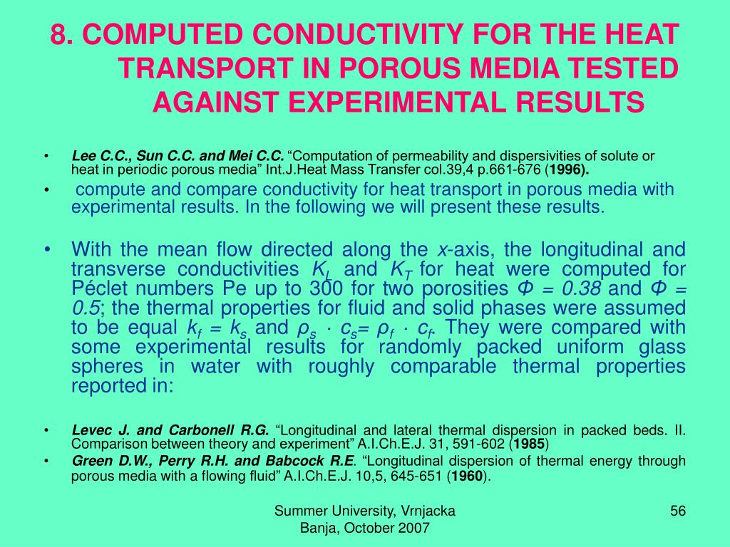 8. COMPUTED CONDUCTIVITY FOR THE HEAT TRANSPORT IN POROUS MEDIA TESTED AGAINST EXPERIMENTAL RESULTS