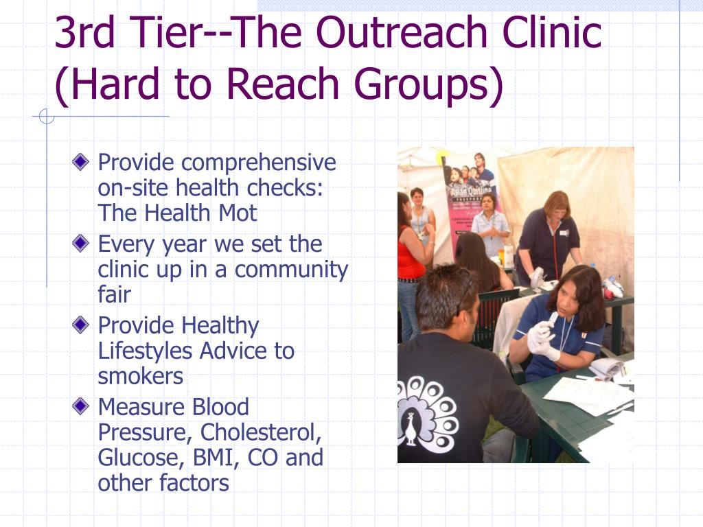 3rd Tier--The Outreach Clinic (Hard to Reach Groups)