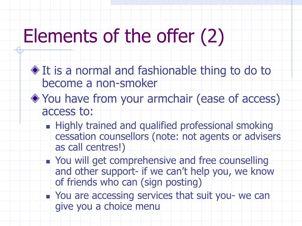 Elements of the offer (2)