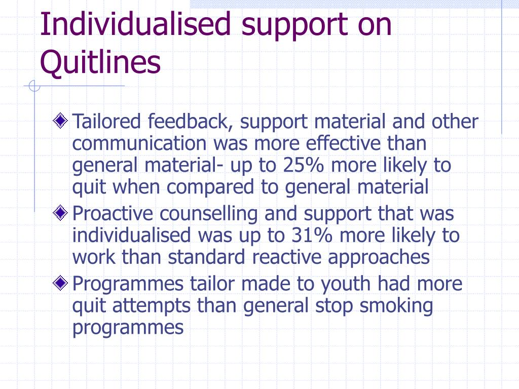Individualised support on Quitlines