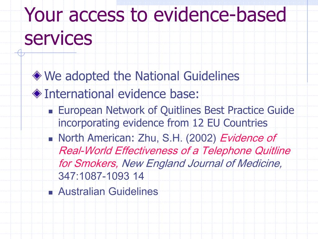 Your access to evidence-based services