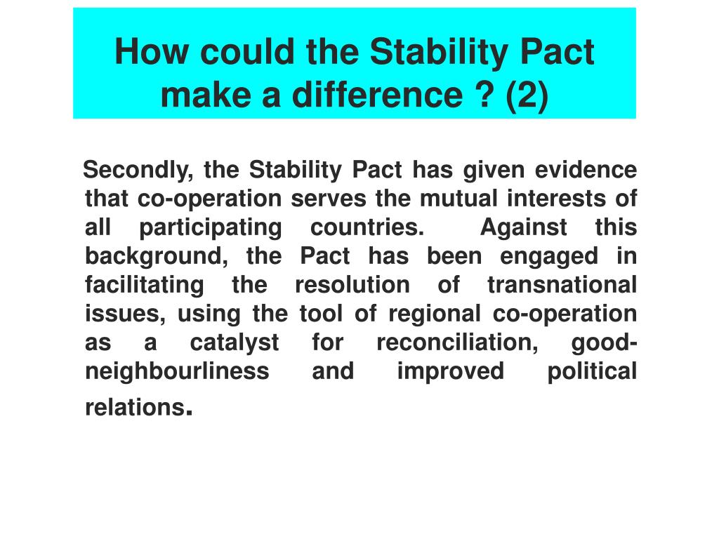 How could the Stability Pact make a difference ? (2)