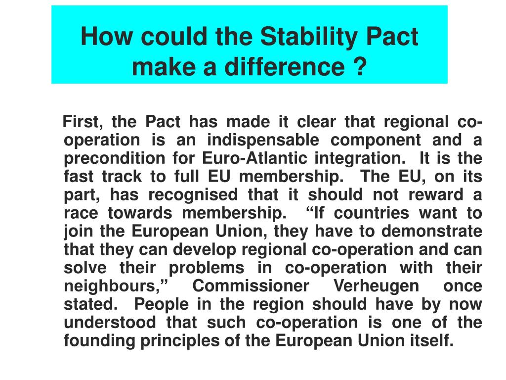 How could the Stability Pact make a difference ?