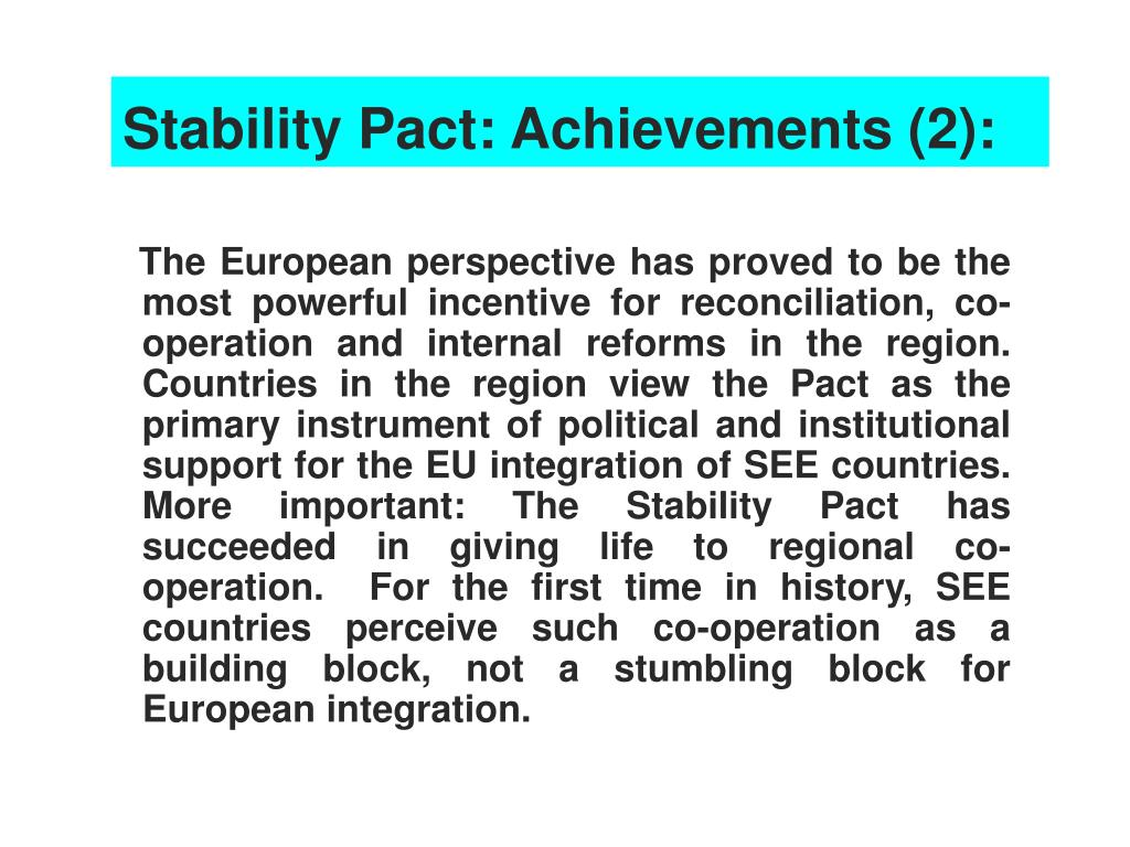 Stability Pact: Achievements (2):