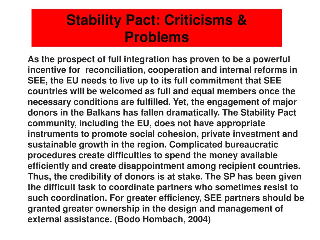 Stability Pact: Criticisms & Problems