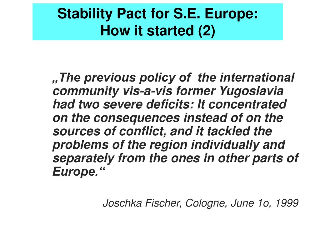 Stability Pact for S.E. Europe: