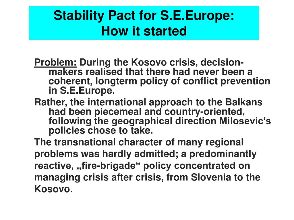 Stability Pact for S.E.Europe: