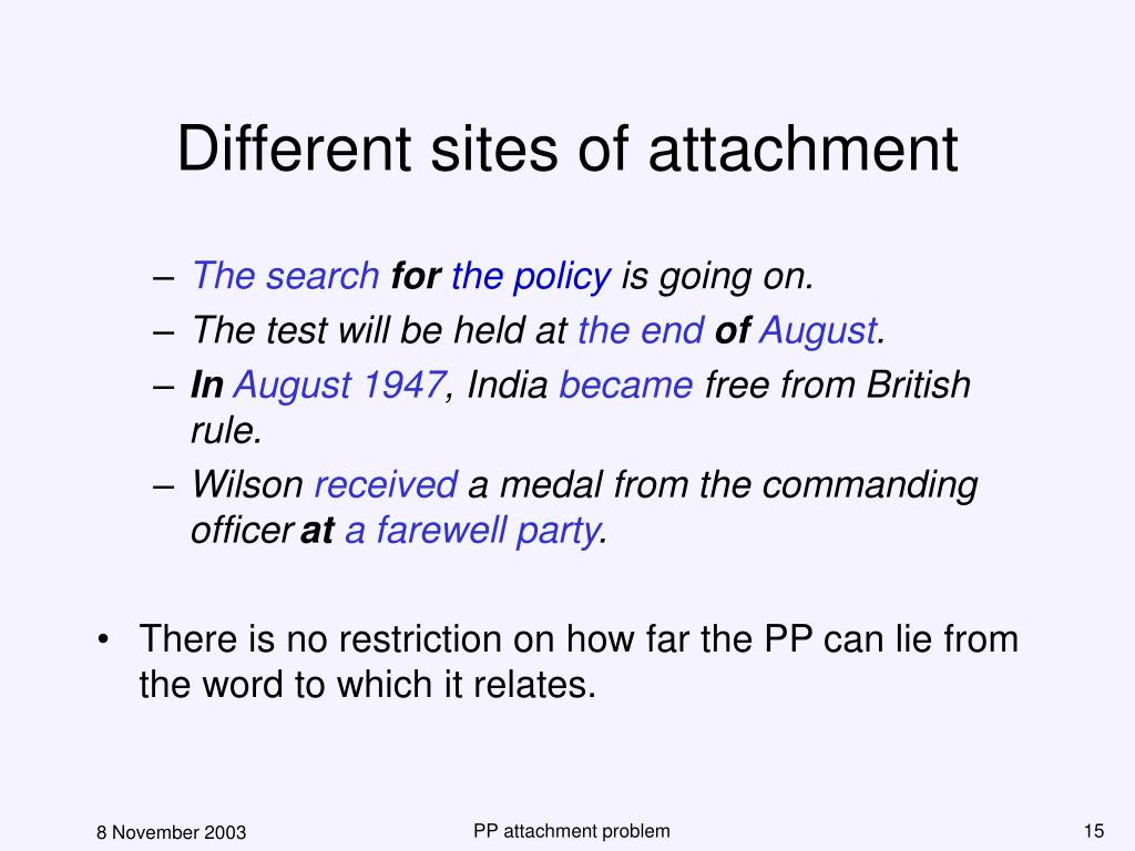 Different sites of attachment