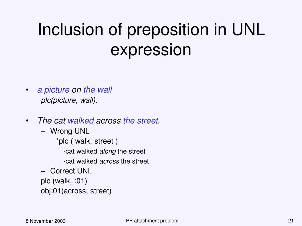 Inclusion of preposition in UNL expression