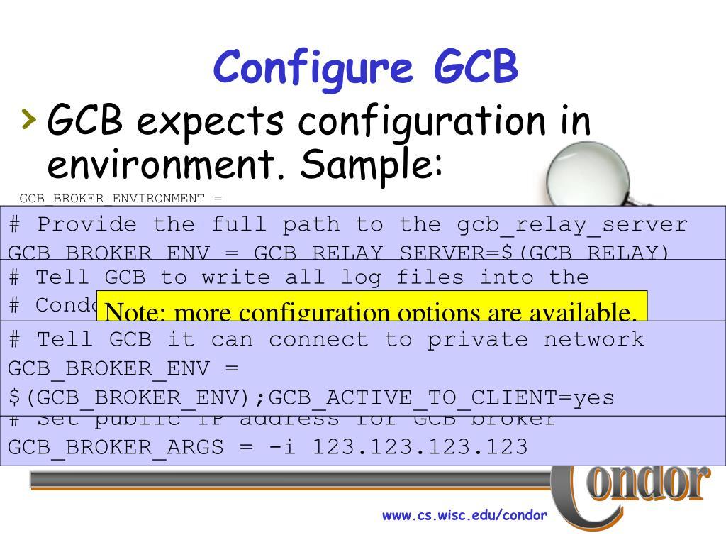 Configure GCB