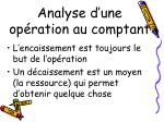 analyse d une op ration au comptant