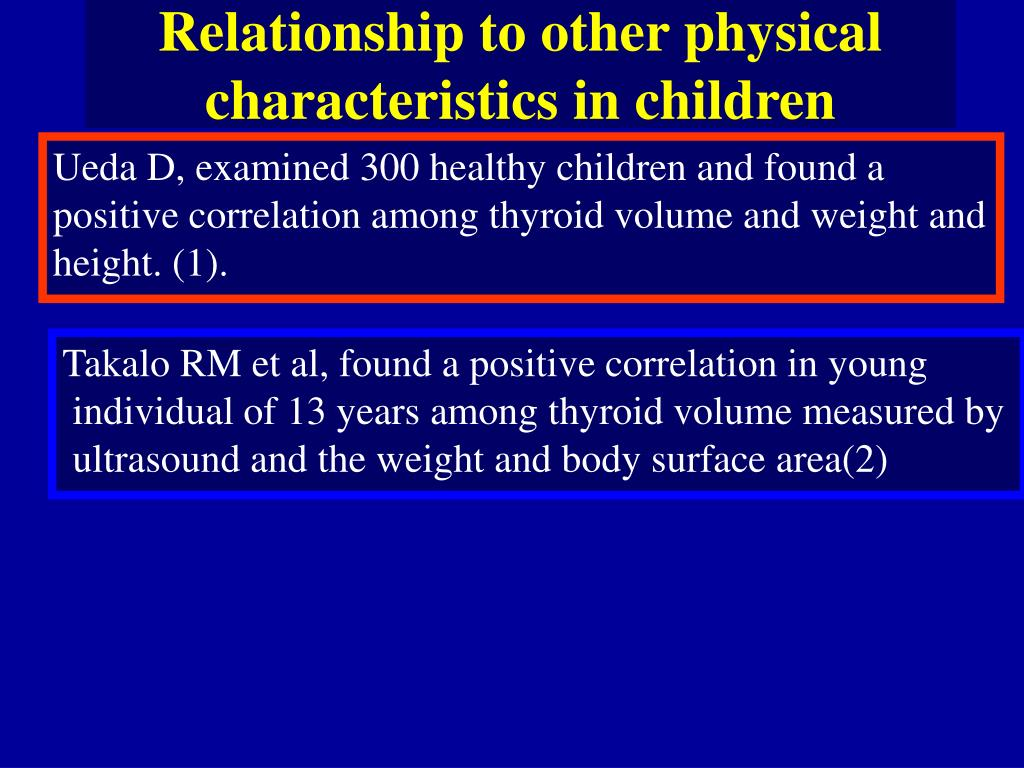 Relationship to other physical characteristics in children