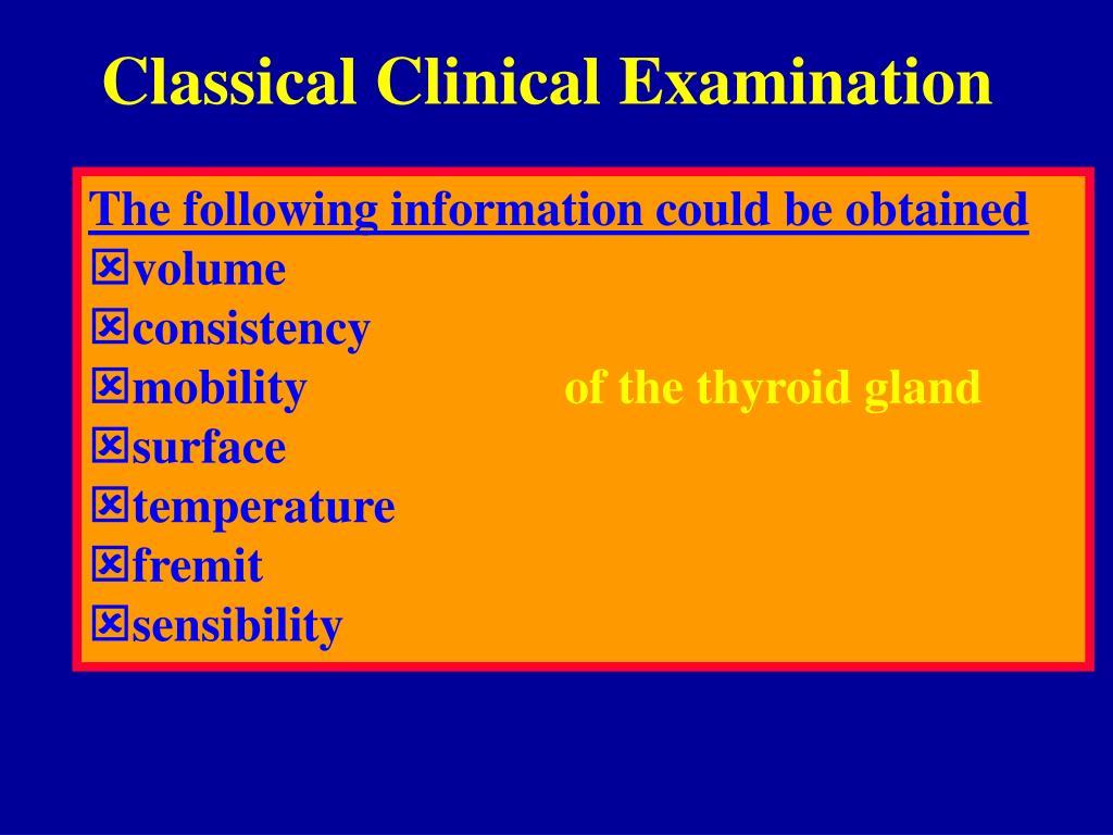Classical Clinical Examination