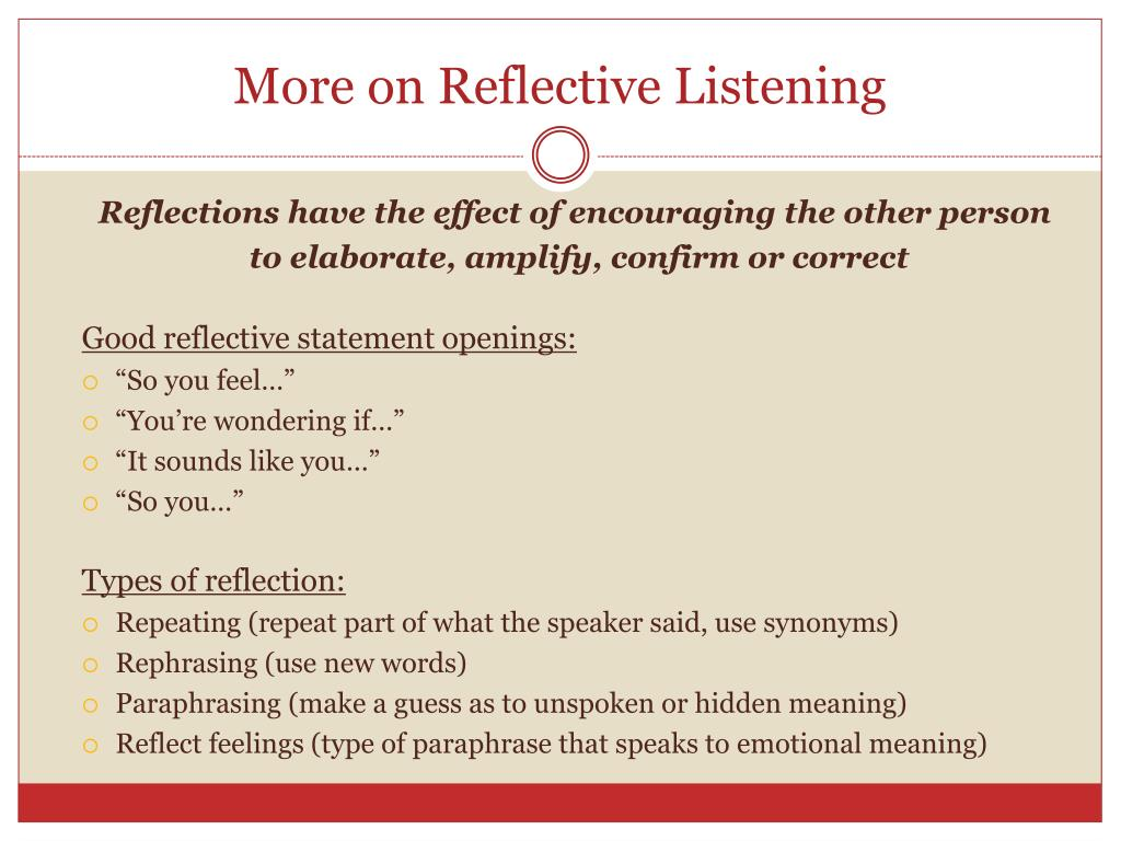 Paraphrasing active listening reframing and reflection