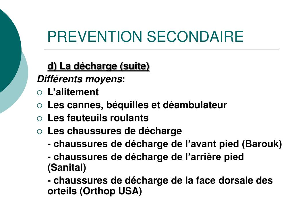 PREVENTION SECONDAIRE