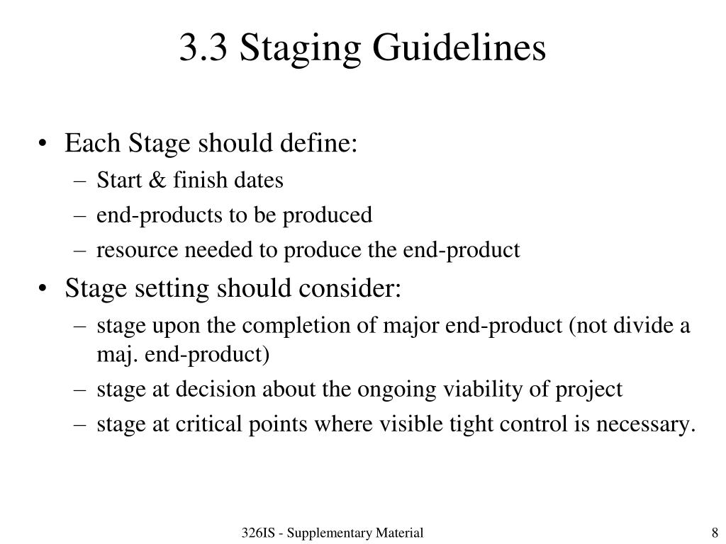 3.3 Staging Guidelines