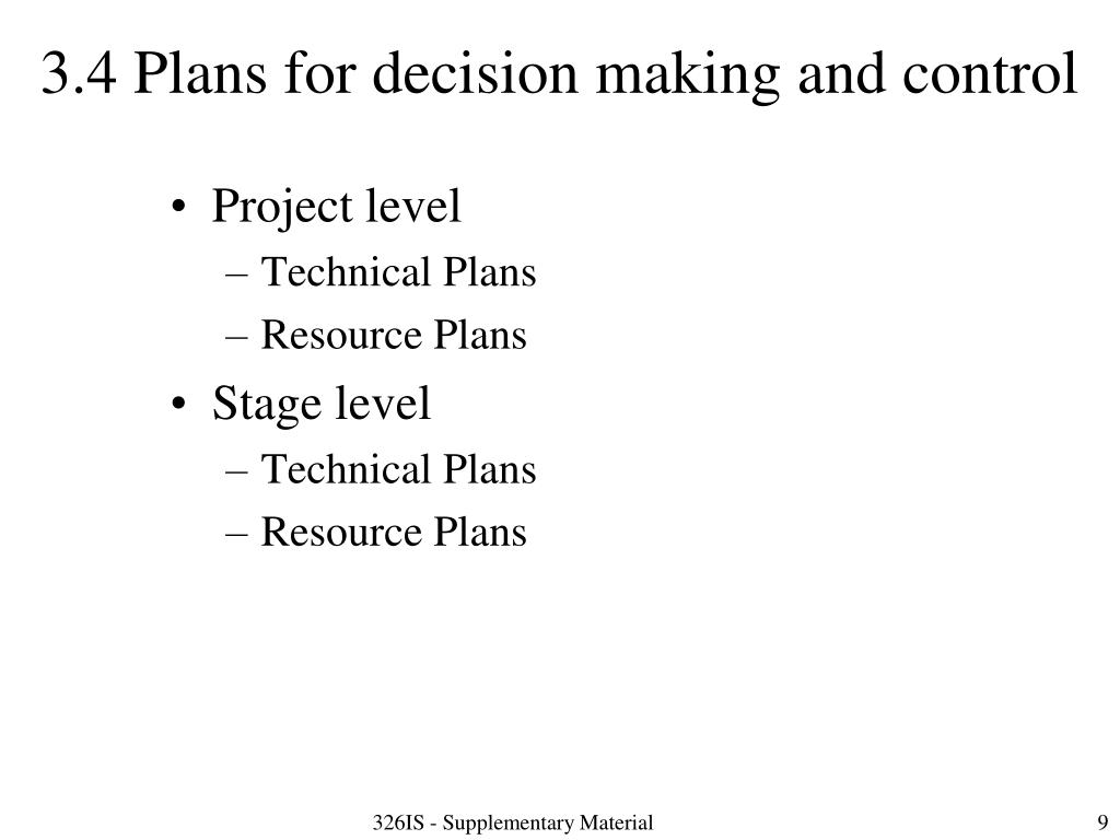 3.4 Plans for decision making and control