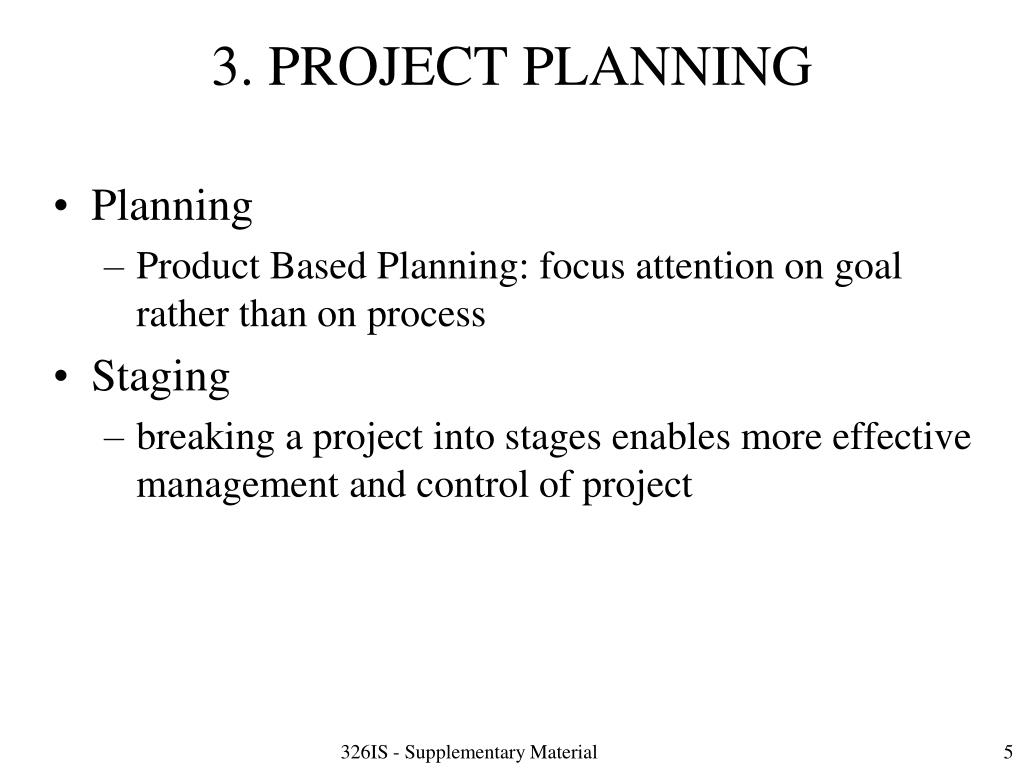 3. PROJECT PLANNING