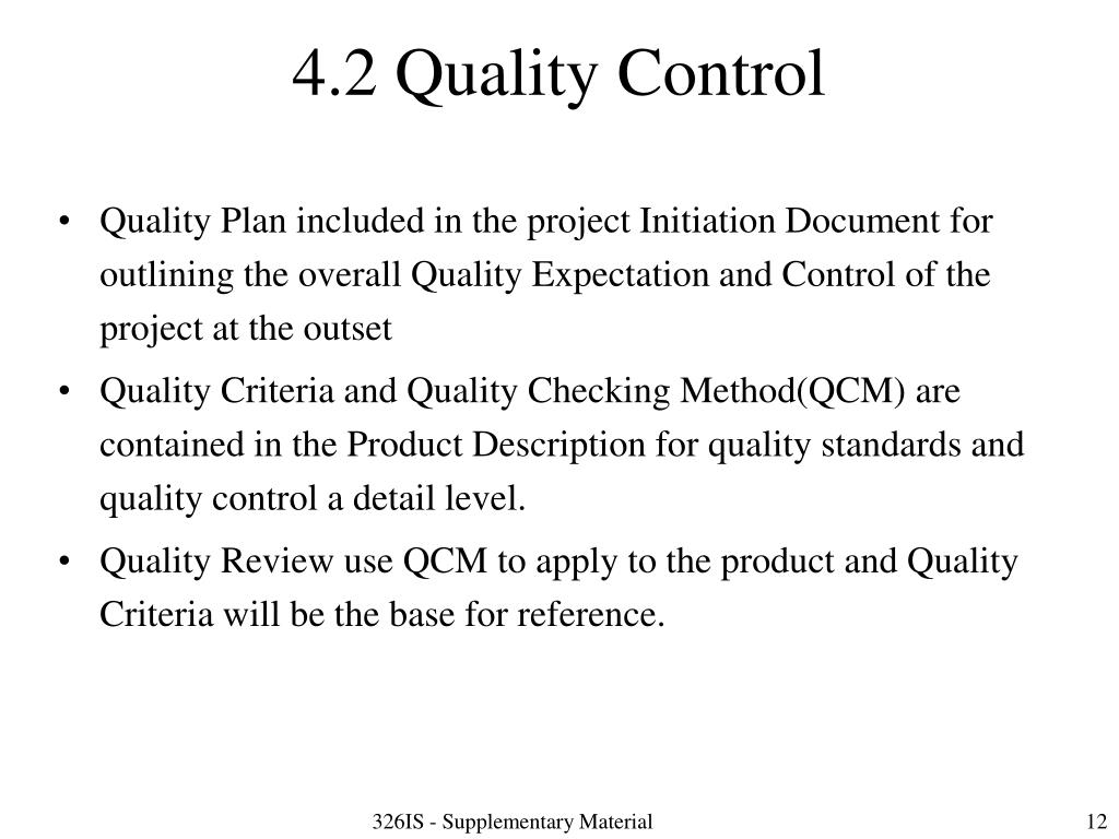 4.2 Quality Control