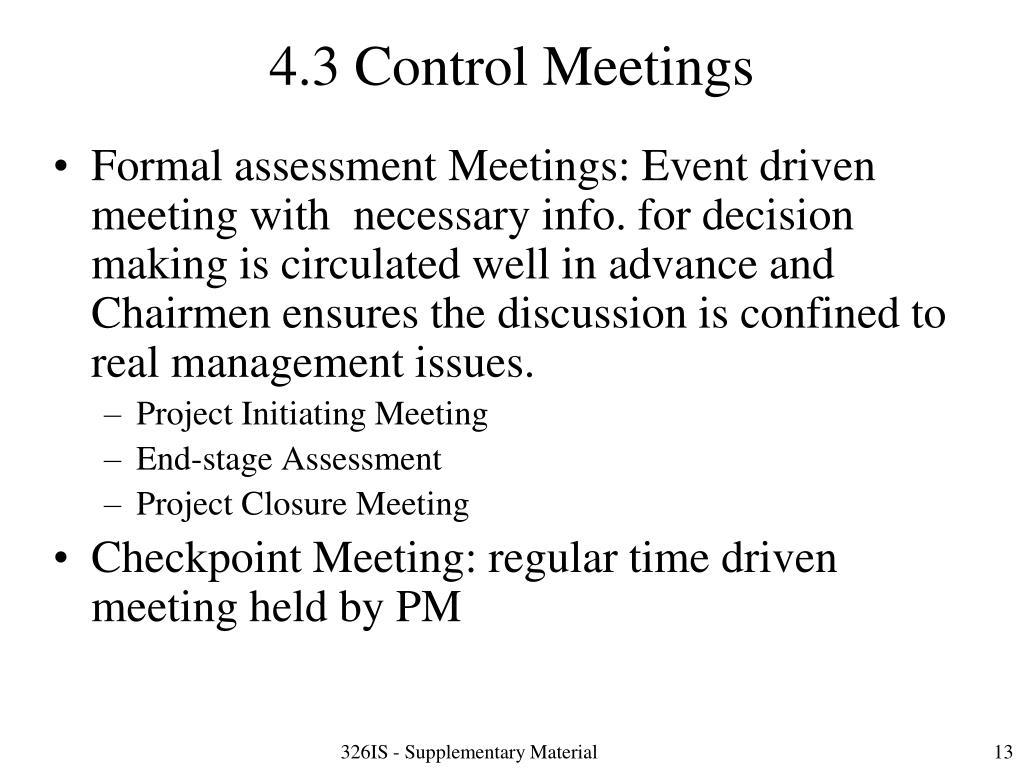 4.3 Control Meetings