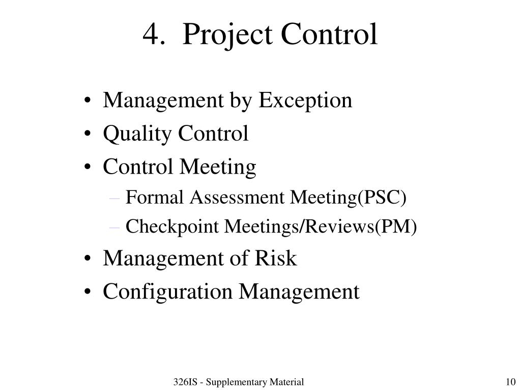 4.  Project Control