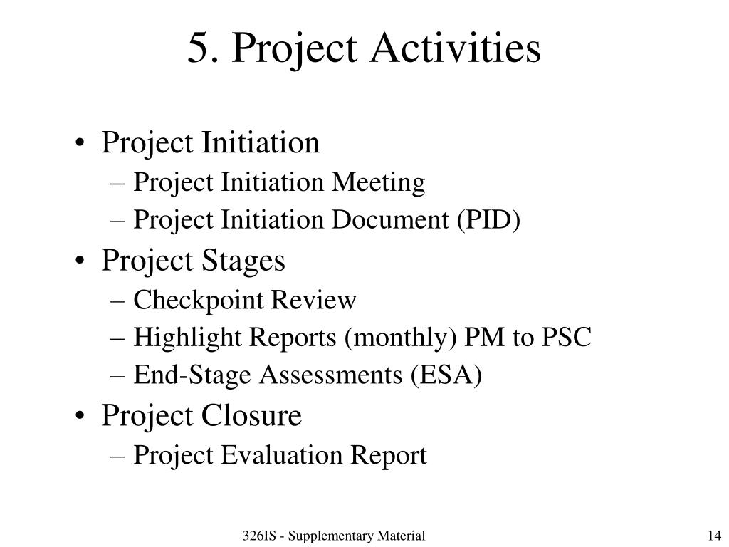5. Project Activities