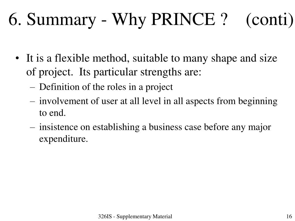 6. Summary - Why PRINCE ?    (conti)