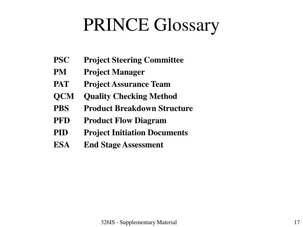 PRINCE Glossary