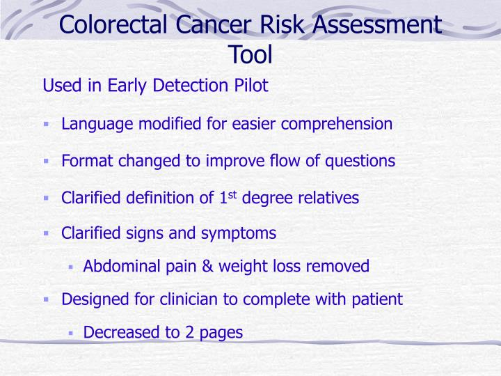 Colorectal cancer risk assessment tool