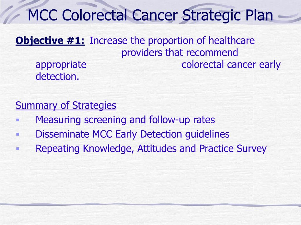 MCC Colorectal Cancer Strategic Plan
