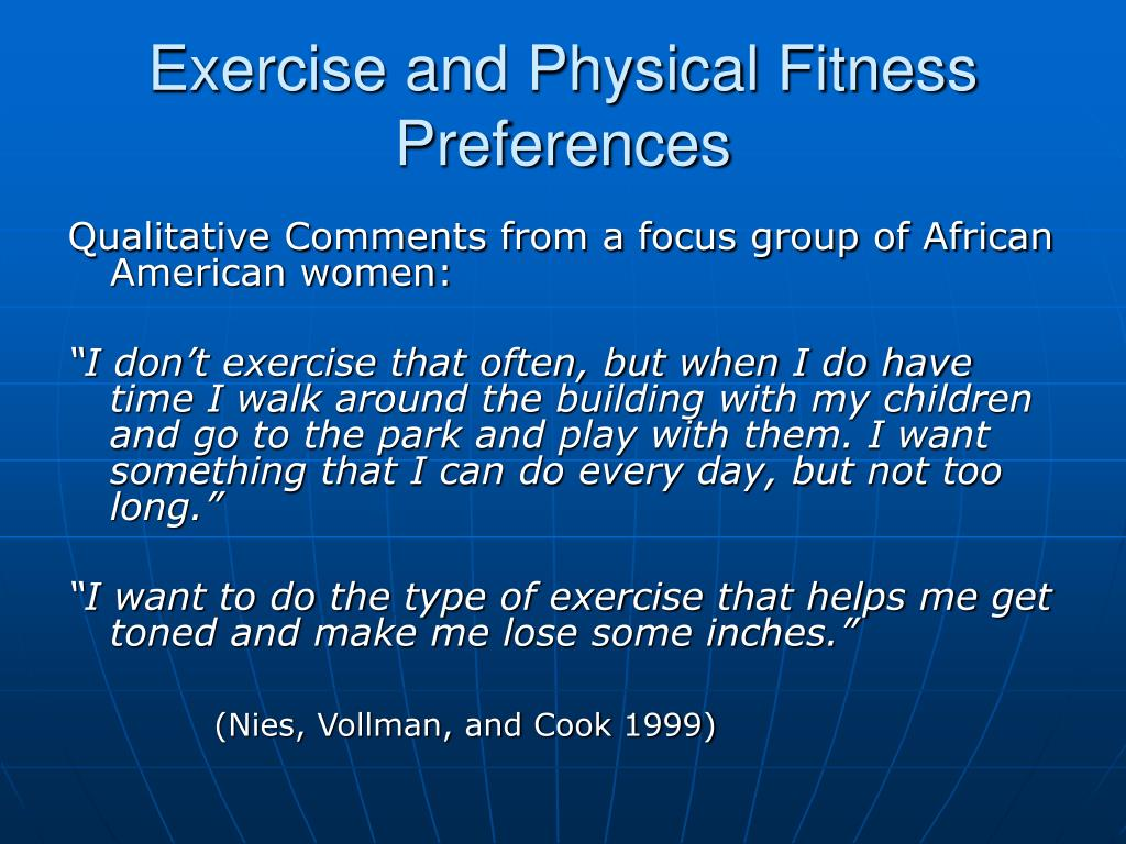 Exercise and Physical Fitness Preferences