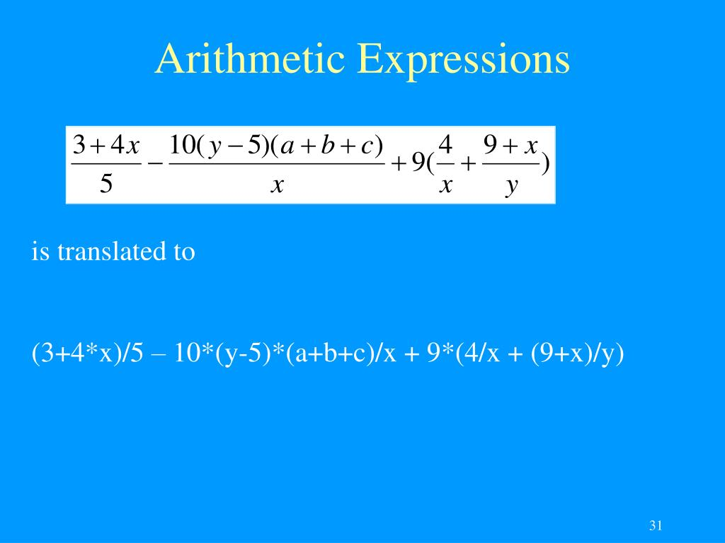 Arithmetic Expressions