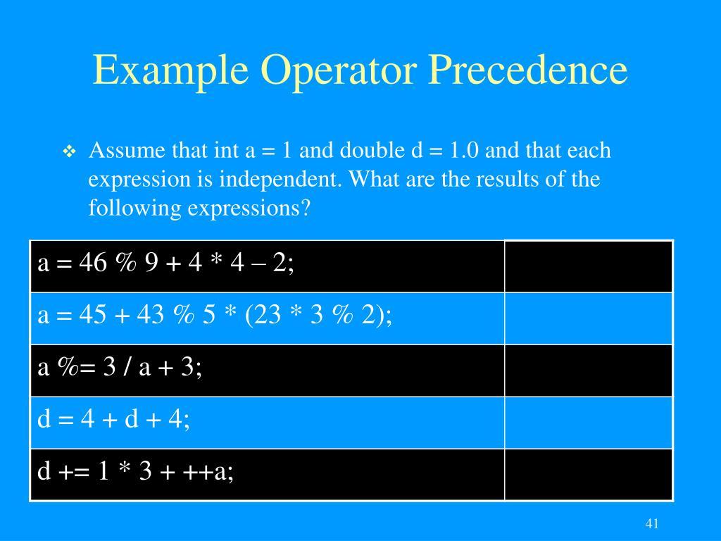 Example Operator Precedence