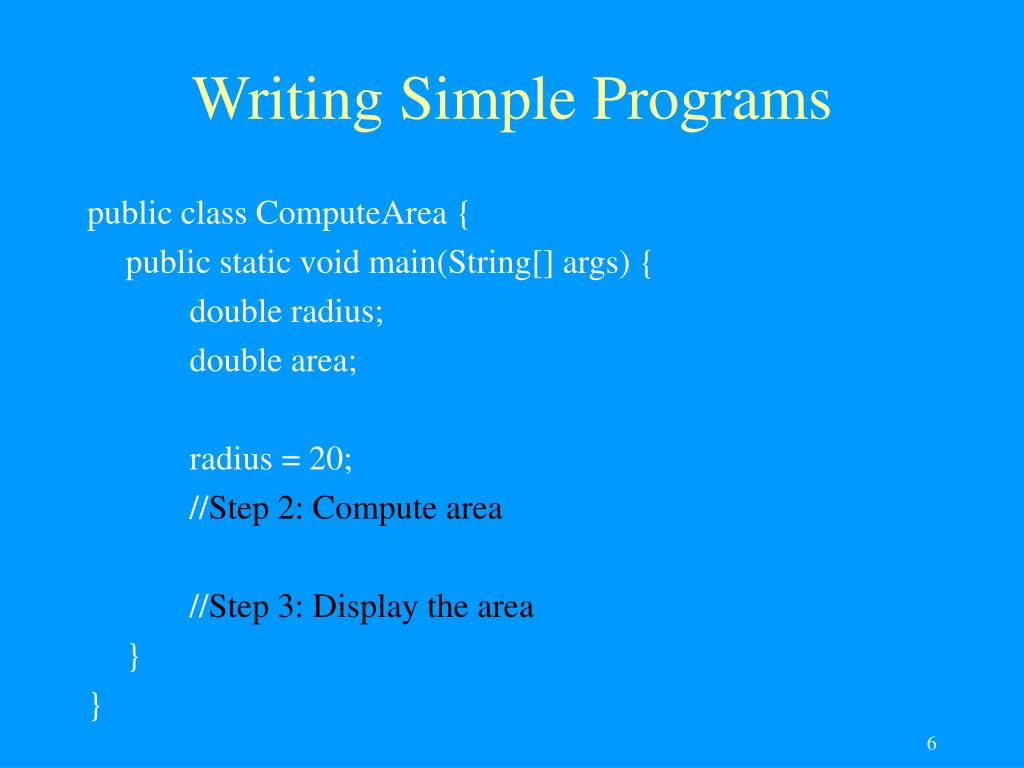 Writing Simple Programs