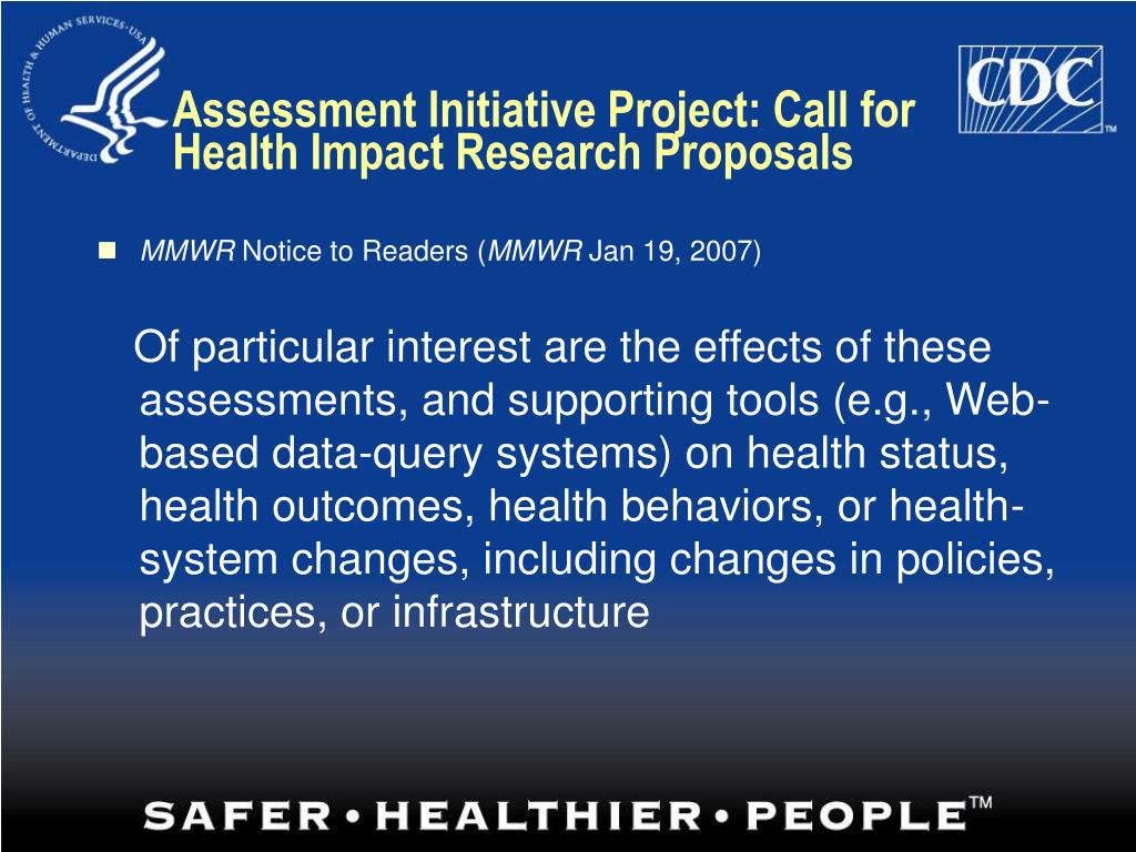 Assessment Initiative Project: Call for Health Impact Research Proposals