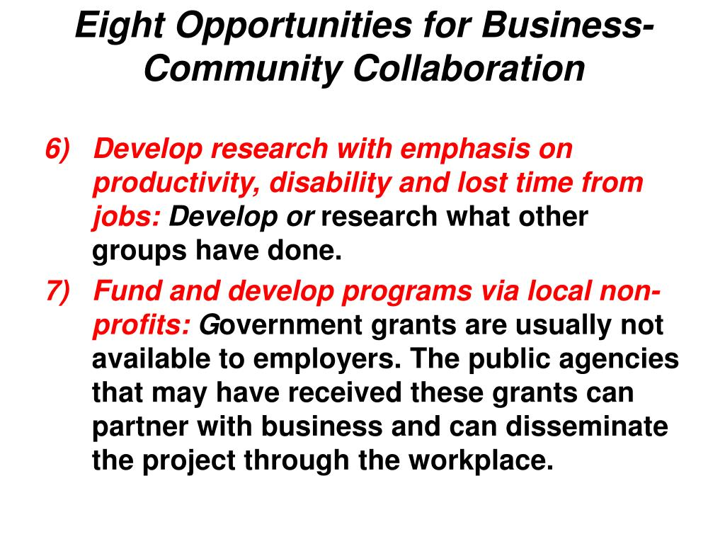 Eight Opportunities for Business-Community Collaboration